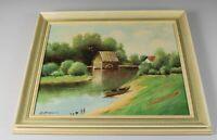 A2/ Öl auf Holz Landschaft Wassermühle+Boot - gerahmt + signiert Mihajlovski H12