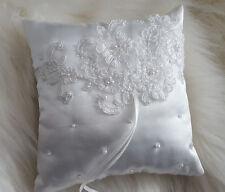 Ringkissen Hochzeit Hochzeitskissen Vintage Satin Ivory mit Spitze NEU