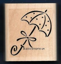 UMBRELLA Wedding BABY SHOWER Love DOTS Gift Bow Tag Stampin' Up! RUBBER STAMP