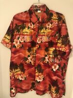 Rina Mens L Red Button Front Shirt Bahamas Caribbean Short Sleeve Hawaiian