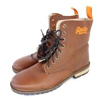 Superdry Herren Winter Boots Stiefeletten 43 Braun Leder Fell gefüttert Warm neu