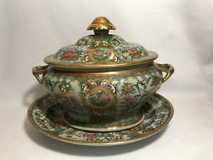 Chinese Export Famille Rose Canton Sauce Tureen With Under Plate-Circa 1800's