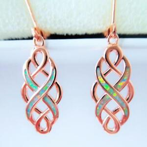 (RGE 3) GORGEOUS WHITE  FIRE OPAL  ROSE GOLD  EARRINGS