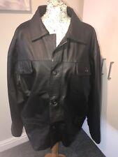 mens black leather box style jacket size L