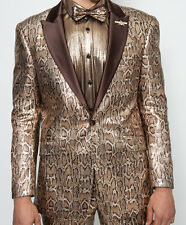 Mens Barabas 3016 Fitted Formal Jacket Brown Gold Metallic Snake Sequin + Bowtie