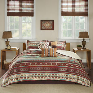 BEAUTIFUL LODGE LOG CABIN BROWN RED BLUE TEAL RUSTIC WESTERN SOUTHWEST QUILT SET