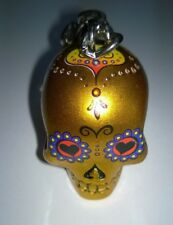 Skull Head Keyring Keychain  3D Candy Skull Day Of The Dead Gold New