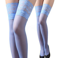 Sexy Womens Lace Top Silicone Band Thigh High Stockings Pantyhose Blue Stockings