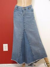 LEI CHELSEA BLUE JEAN FADED DISTRESSED RIPPED LOW RISE DENIM SKIRT SZ 11