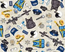 Protect and Serve~Police Equipment~Cotton Fabric by Quilting Treasures