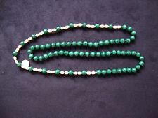VINTAGE HANDCRAFTED JAPANESE BIWA PEARL & MALACHITE BEAD ENDLESS STRAND NECKLACE