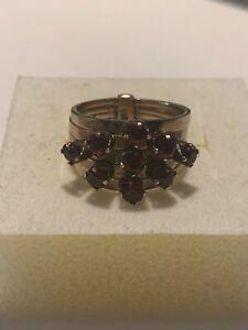 Harem Garnets Five Band Ring 14k Princess Vintage
