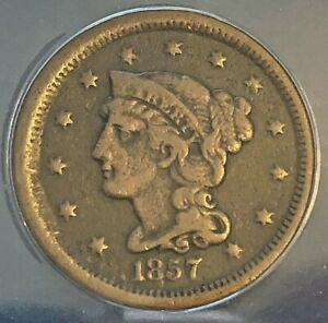 1857 Liberty Head/Braided Hair Large Cent, Small Date, F15 Details