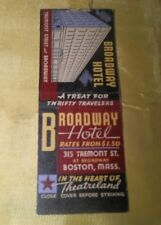 1930's Advertising Matchbook Cover, Broadway Hotel, Boston, Ma