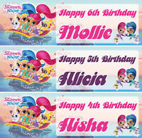 2 x personalised SHIMMER & SHINE birthday banner girls kids party any name age