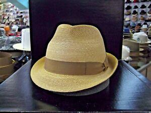 BORSALINO BEIGE W/BUTTERSCOTCH TRILBY DRESS HAT (READ DESCRIPTION FOR SIZE)