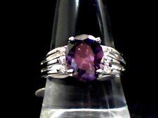 "Purfect Purple Amethyst & Austrian Crystal Dazzler ""18Kt"" Wht. Gold Filled Sz. 6"