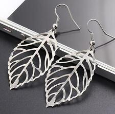 Trendy Silver Hollow Leaf Dangle Drop Earrings For Women Girls Best Gift