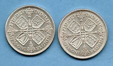 1935 & 1936 GEORGE V SILVER FLORIN COINS. 2 X TWO SHILLINGS. IN HIGH GRADE.