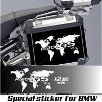 COPPIA ADESIVI MAPPAMONDO BMW R 1200 GS AC PLANISFERO PER VALIGIE BIANCO
