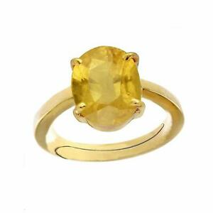 Natural Certified 7 Ct Yellow Sapphire Handmade 14 k Gold Plated Ring For Unisex