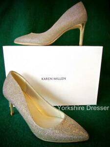 New KAREN MILLEN Uk 4 37 Gold Sparkle Mid-Heel Pointed Evening Court Shoes RARE