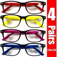 4 Pairs Unisex Mens Womens Rectangular Spring Hinge Power Reading Reader Glasses