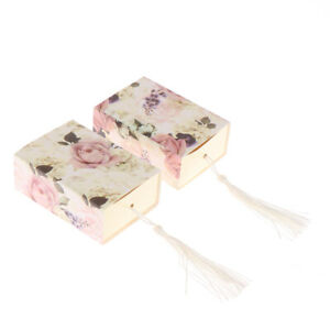 10pc New Rose Flower Pattern Tassel Pendant Candy Box Chocolate Box Gift BoSL