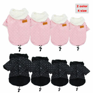 Warm Fleece Dog Winter Clothes Small Medium Dogs Hoodie Jacket Coat Pink Black