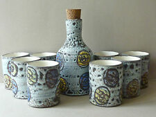 service en céramique Camos Vallauris, 1 bouteille et 8 verres, design années 50