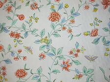 Vtg 1980s Brunschwig & Fils KUAN-YIN Floral Butterfly Fabric  6 Yds Cotton Print
