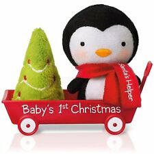 Baby's First Christmas 2015 Hallmark Ornament  Family  Penguin  Red Wagon  Tree