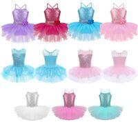 Kids Girls Sequined Ballet Dress Ballerina Gymnastics Leotard Skirt Dance Wear