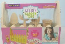 WOODEN GARDEN TOTE CRAFT TOY Paint Flower Pot Rake Shovel 6+ Plant Build Make