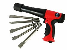 Long Barrel Air Hammer Kit Reduced Vibration with 5pc Chisel Set