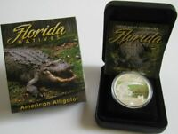 Tuvalu 1 Dollar 2014 Florida Natives American Alligator 1 Oz Silber
