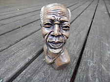 VINTAGE BROWN AFRICAN GENUINE STONE HAND CARVED SHONA BUST MAN SCULPTURE INTRNTL