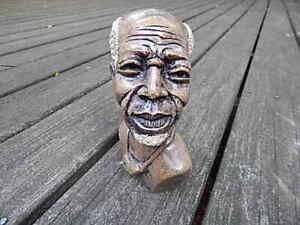 VINTAGE BROWN AFRICAN GENUINE STONE HAND CARVED SHONA BUST MAN SCULPTURE INTRNTL