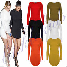 Petite Crew Neck Long Sleeve Viscose Dresses for Women