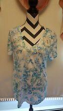 ESSENTIALS Womens White Blue Floral Print shirt XL NWT