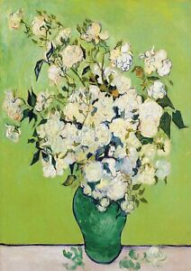 Vase with White Roses - Van Gogh A4 size 21x29.7cm QUALITY Canvas Print Unframed
