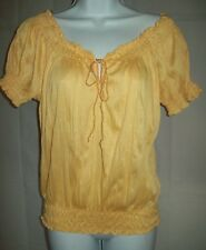 Self Esteem Womens Top Size Small Peasant Yellow Blouse Back to School