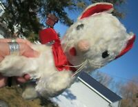 "VINTAGE PLUSH TEDDY BEAR RED WHITE KITTY CAT STUFFED TOY GUND SWEDLIN 8""SOFT FUR"