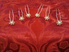6 DIAMANTE CRYSTAL SILVER FLOWER HAIR PINS HAIRPINS PEARL RHINESTONE WEDDING
