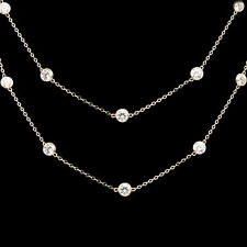 3CT Created Diamond By The Yard Bezel Station Necklace 14k Yellow Gold Chain 20""
