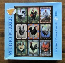 "Rooster Quilt Bits & Pieces Jigsaw Puzzle 1000 Pc  Complete 20"" x 27"" Chickens"