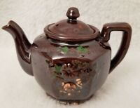 Vintage Small Brown Green Floral Teapot With Lid
