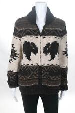 Polo Ralph Lauren Brown Cream Wool Long Sleeve Zip Sweater Size Medium New $498