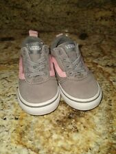 Toddler Girls Size 6 Gray Dusty Pink Old Skool Vans Shoes No Trip Elastic Laces