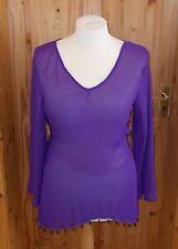 JANET REGER purple chiffon beaded long sleeve kaftan tunic top 14 16 18 42 44 46